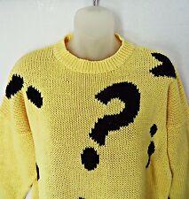 Vtg 80s CHAUS SPORT Yellow Sweater Women Math Calculus Grunch Size L XL Oversize