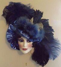 Clay Art San Francisco Ceramic Mask Victorian Mardi Gras Blue & Black Feathers