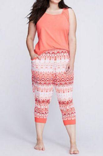 Lane Bryant Cacique Peplum Lace Inset Sleep Top Shirt Orange Plus Size 26//28 4X