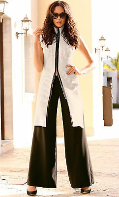 NWT L $119 Boston Proper Sexy Long Leather Trim Cardigan Sweater Duster Vest Top