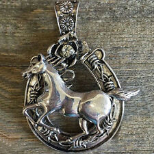 """Western Cowgirl Antique Silver Crystal Horseshoe/Horse Pendant 2 1/2"""" X 3"""""""