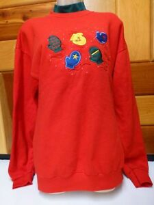 Colorful-Mittens-Womens-Large-Ugly-Christmas-Sweater-Party-Sweatshirt-Red