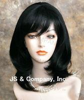 Human Hair Blend Wig Straight Face Framing Off Black Heat Safe W. Bangs Wma 1b