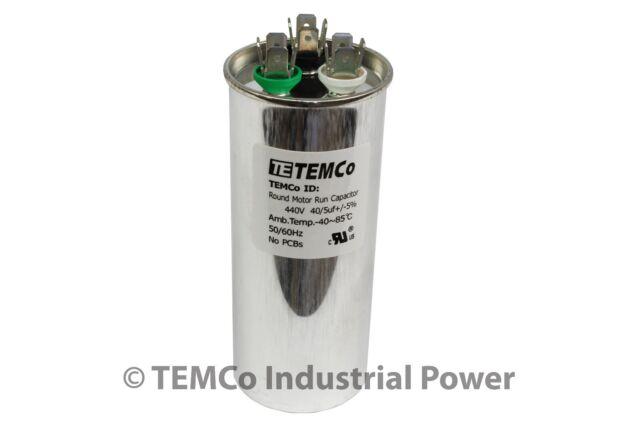 TEMCo 40/5 MFD uF Dual Run Capacitor 370 440 vac Volts AC Motor HVAC 40+5
