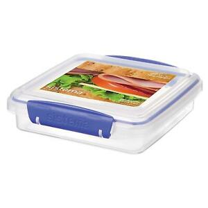 Sistema-KLIP-IT-Sandwich-Lunch-Box-Food-Storage-Container-450-ml-Clear-amp-Blue