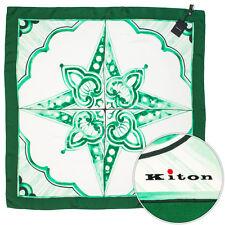 New KITON Green Floral Hand Made Silk Fashion Scarf Shawl Headscarf NWT $495!