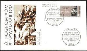 BRD-1988-Pogrom-vom-9-11-1938-FDC-Nr-1389-mit-Bonner-Ersttagsstempeln-1909