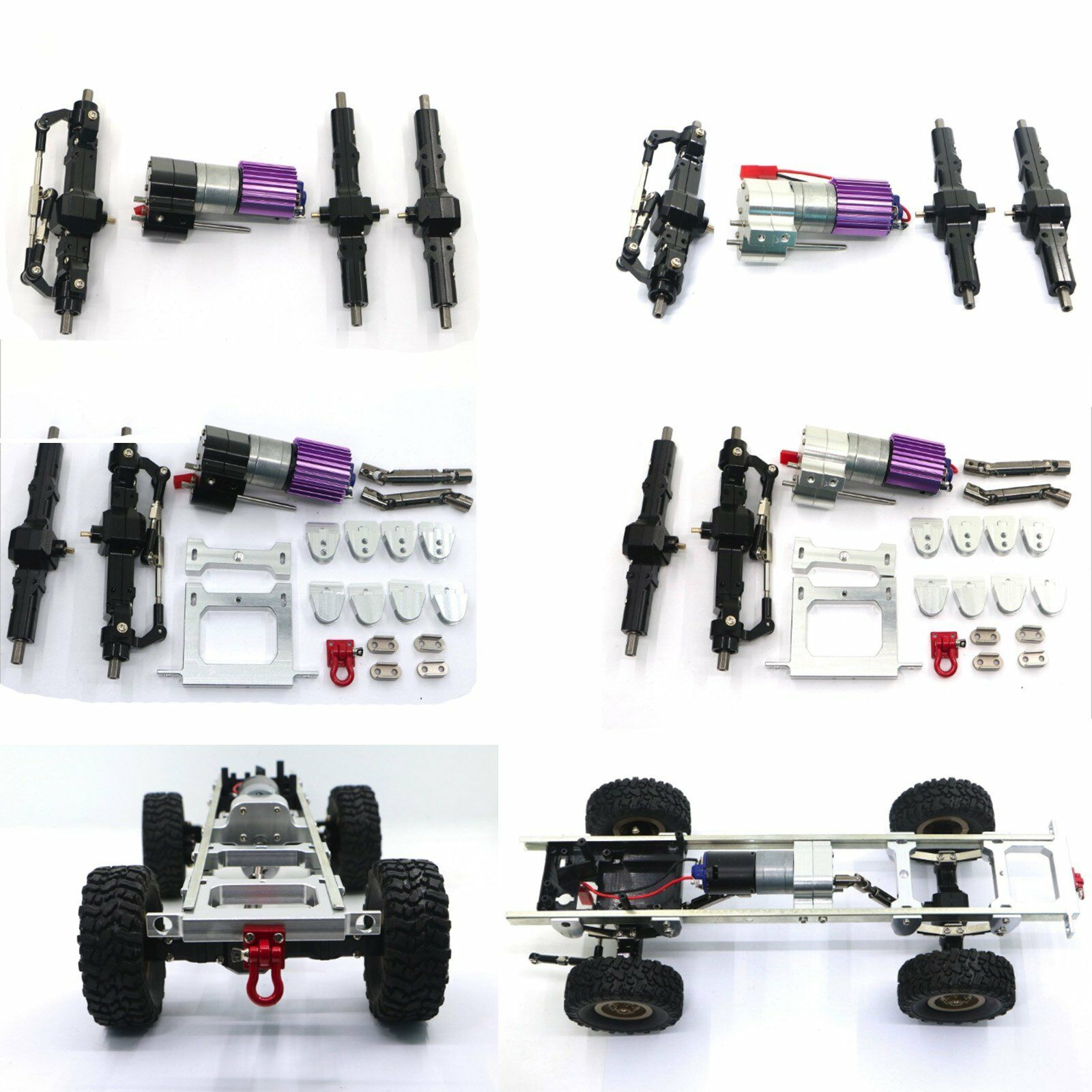 Front & Rear Axle + Metal Gearbox for WPL 1 16 Military RC JJRC Q60 Q61