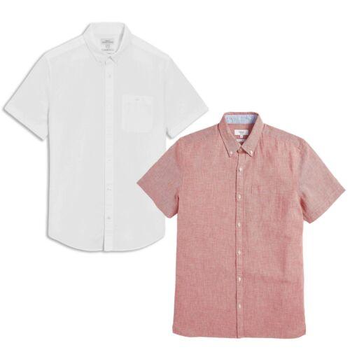 Famous UK Brand Mens Pink White Linen Blend Short Sleeve Shirt
