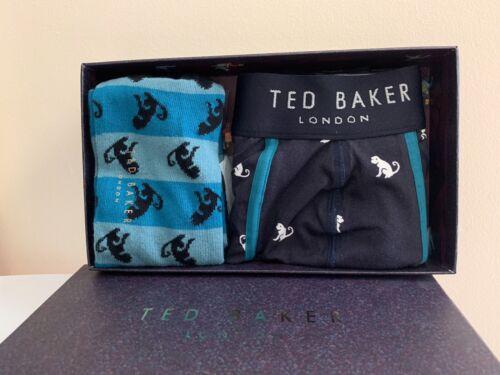 Ted Baker Boxer /& Juego De Regalo De Calcetín Mono para Hombre Talla S//m Tronco Y Calcetines 2in1 En Caja