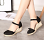 thumbnail 10 - Roman-Womens-Wedge-Mid-Heels-Strappy-Linen-Sandals-Pointy-Toe-Casual-Retro-Shoes
