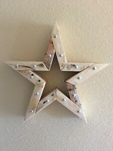 Details About Wooden Star Wall Decor With Silver Studs 13