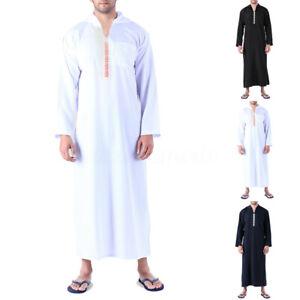 Muslim-Mens-Clothing-Saudi-Arab-Long-Sleeve-Thobe-Islamic-Jubba-Thobe-Kaftan-Top
