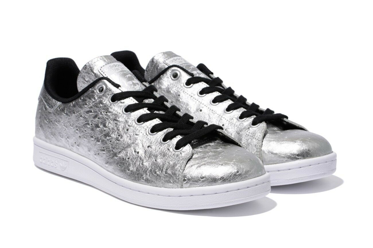 Mens Adidas Originals Stan Smith Ostrich Leather Shoes Metallic Silver Size 10.5