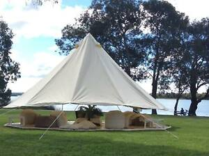 Image is loading 6M-Bell-Tent-Canvas-Waterproof-Gl&ing-Party-Wedding- & 6M Bell Tent Canvas Waterproof Glamping Party Wedding Large Family ...