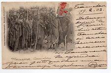 MADAGASCAR carte nuage 1900 Guerriers Ethnies