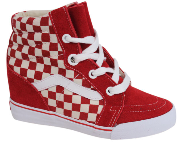 a1f71543781 Vans OTW SK8 Hi Wedge Red Checkerboard Unisex Lace Up Trainers UDH8JR U122