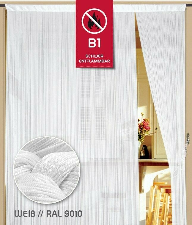 Fadenvorhang Fadenstore Messe B1 schwer entflammbar 400 cm x 200 cm (BxH) weiß K
