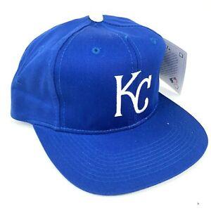 Vintage-Kansas-Ciudad-Realeza-Al-Aire-Libre-Tapa-Youth-Talla-Gorra-Plana-Azul