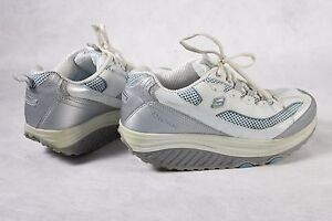 NICE Skechers Shape Ups 11803 Womens Size 8.5 Walking Shoes White Silver Blue!