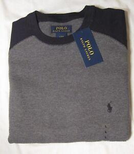 d4af5bc4331 Polo Ralph Lauren Men s Waffle Knit Long Sleeve Shirt NWT Dark Gray ...