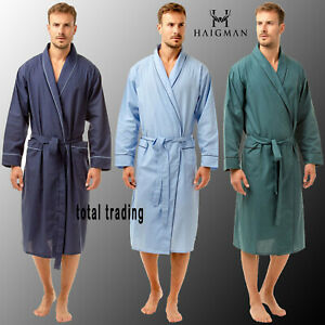 Mens Dressing Gowns  Poly Cotton holiday hospital Summer Lightweight  plain