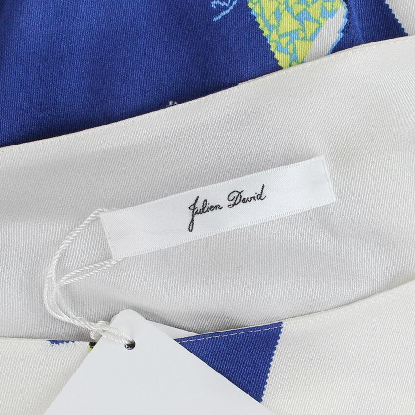 Julien David White Royal bluee Party Hat Hat Hat Printed Pure Silk Dress S IT40 UK8 03ffe1