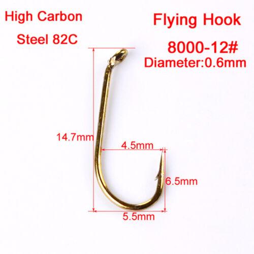 200pcs Fliegenfischen Haken 4 Größen Fischen Forelle Lachs Dry Fly Angelhaken