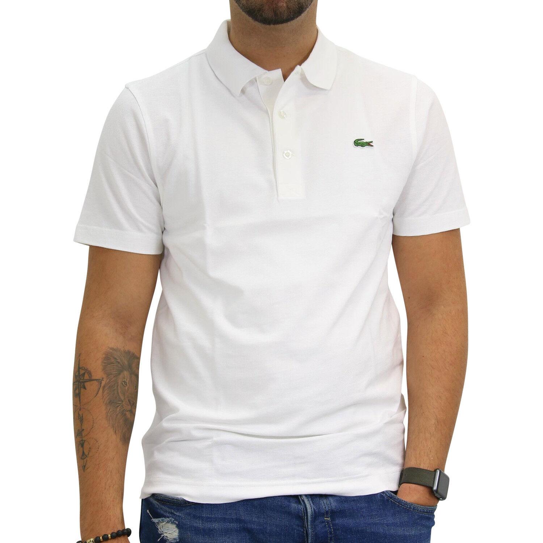 Lacoste Regular Fit Polo Poloshirt Polohemd Kurzarm Herren Weiß L1230 001