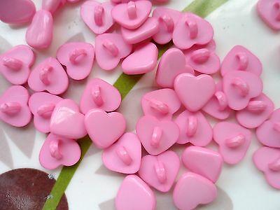 "70pcs Novelty Theme Dress It Up Button Small Heart Card-making Craft Pink 3/8"""
