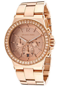 NEW MICHAEL KORS DYLAN ROSE GOLD TONE+CHRONO DIAL+CRYSTAL,DATE WATCH ... 184c6cadc6