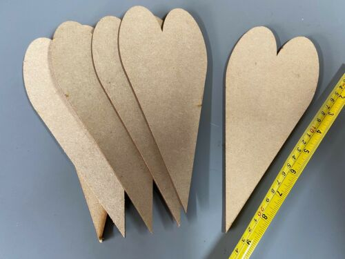 QTY 10x 240mm Wooden Primitive Hearts Tall Hearts Long Heart Shape WEDDING DAY