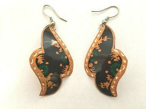 Handmade and Hand Painted Copper Earrings