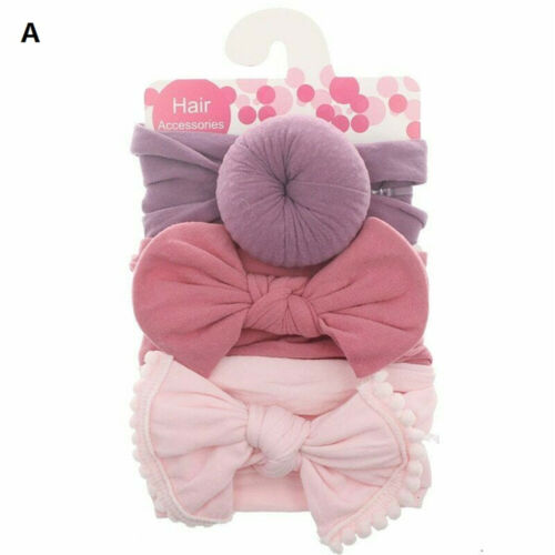 3Pcs Toddler Kids Baby Girls Bow Knot Turban Headband Hair Band Headwrap Cute