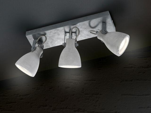 Deckenleuchte im Retro Design Beton schwenkbar 2x GU10 Fassung Wohnzimmerlampe