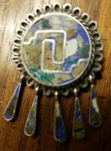 Vintage-925-Silver-TAXCO-Mexico-Stone-Inlay-Brooch-Pin-Pendant-1-1-8-034-Diameter