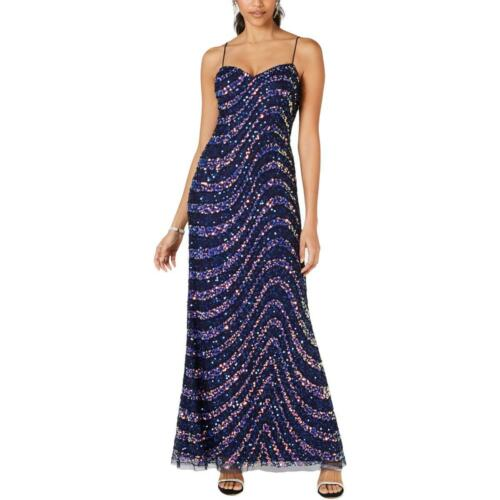 Adrianna Papell Womens Sequined Embellished Evening Dress Gown Petites BHFO 4854