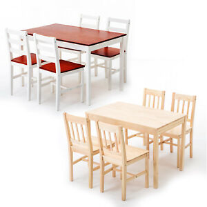 5-PCS-Pine-Wood-Dining-Table-Set-w-4-Chairs-Kitchen-Dining-Room-Furniture