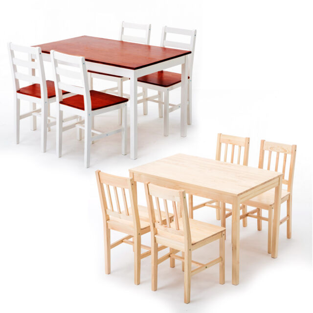 5 Piece Pine Wood Dining Table Set And 4 Chairs Kitchen Furniture