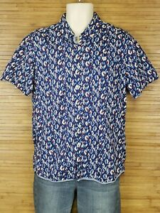 7-Diamonds-Blue-Geometric-Button-Front-Shirt-Mens-Size-Medium-M