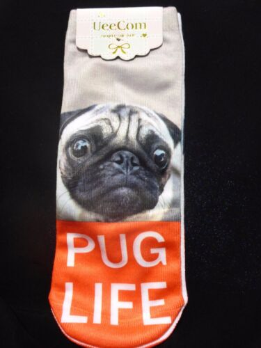 Ladies Girls Ankle 3D Photo Printed Sports Socks Pug Life Puppies Dogs Cupcake