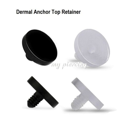2pc Acrylic Dermal Anchor Top Part Retainer 4MM Flat Disc Black and Clear