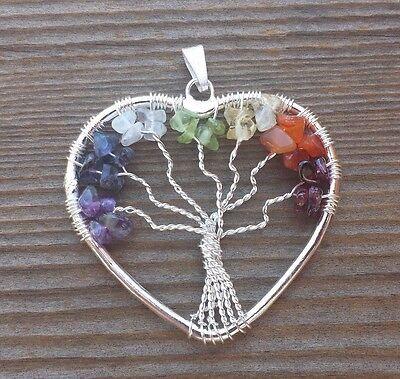 HEART STYLE GARNET TREE OF LIFE WIRE WRAPPED PENDANT STONE GEMSTONE