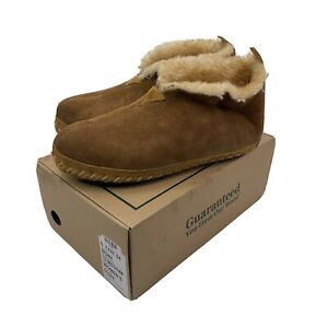 LL-Bean-Moccasin-Boot-Slippers-Women-s-Size-10-M-Tan-Shearling-Lined-EUC