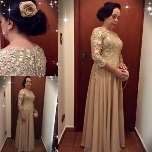 Details about Gold Mother of the Bride Dresses Chiffon 3/4 Sleeves Guest  Dress Long Gowns