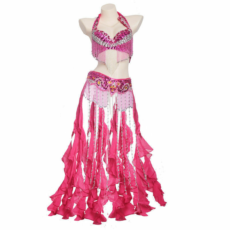 New Belly Dance Costume 2Pcs set of Tassels Bra/&Belt 34B 36B 38B 40B 11 colors
