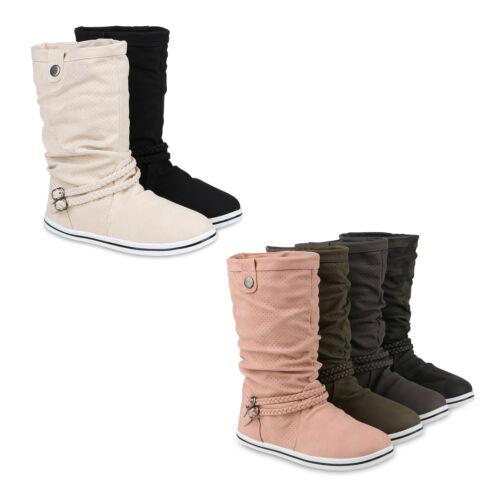 Warm Gefütterte Damen Schlupfstiefel Cut-Outs Schnallen Stiefel 818742 Schuhe