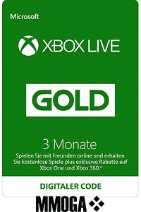 Xbox Live Gold Mitgliedschaft - 3 Monate Key Xbox 360 One 3 Month Code Card Neu
