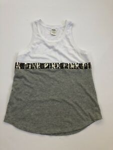 588851a55a897 Details about Small Pink Victoria's Secret Tank, white and gray, sequins,  cute! Sleeveless top