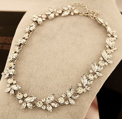 Fashion Clear Crystal Silver Flower Pendant Statement Bib Charm Choker Necklace